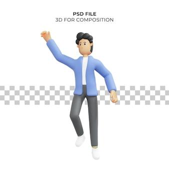 3d illustratie van een man die springt voor een droom premium psd