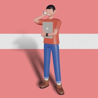 3d illustratie van een zakenman die een potentiële klant belt calling