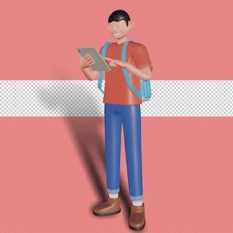 3d illustratie van een zakenman die een tablet speelt