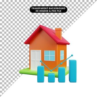 3d illustratie van eenvoudig object huis