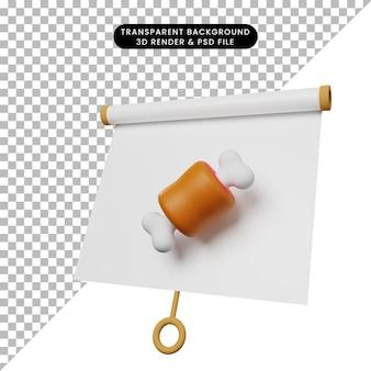 3d illustratie van eenvoudig object presentatiebord licht gekanteld aanzicht met vlees