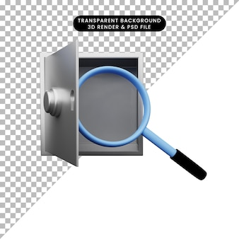 3d illustratie van eenvoudig object vergrotend schot naar veilige banken
