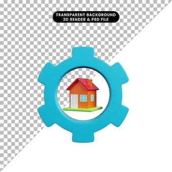 3d illustratie van eenvoudig objecthuis met versnelling