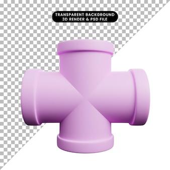 3d illustratie van eenvoudige objectpijpverbinding