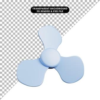 3d illustratie van eenvoudige objectpropeller