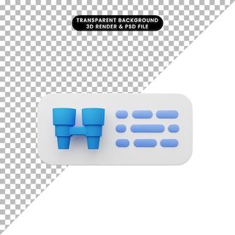 3d illustratie van element gebruikersinterface ui eenvoudig pictogram
