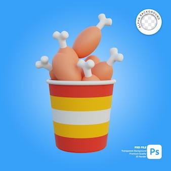 3d illustratie van gebraden kippenpakket