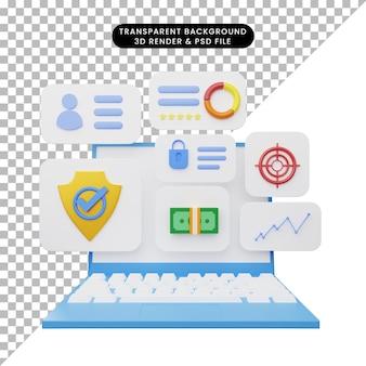3d illustratie van gebruikersinterface op laptop