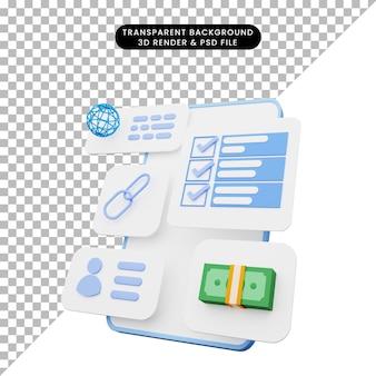 3d illustratie van gebruikersinterface op smartphone