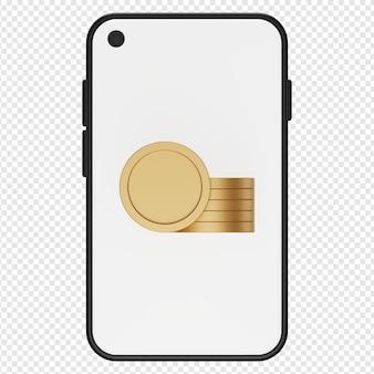3d illustratie van geldmuntstuk in smartphonepictogram psd