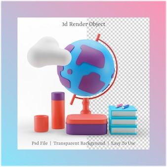 3d illustratie van glob en boek met terug naar schoolconcept