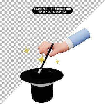 3d illustratie van hand die magie doet
