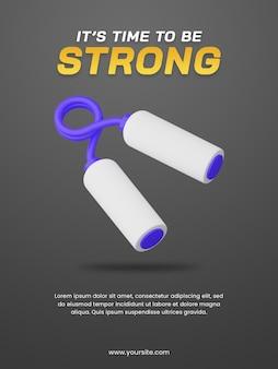 3d illustratie van handgrijper. poster ontwerpsjabloon. handig voor het ontwerp van de sportillustratie.