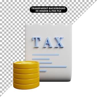 3d illustratie van het belastingsdocument van het betalingsconcept met muntstuk