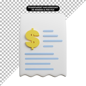 3d illustratie van het document van het betalingsconcept met dollarpictogram