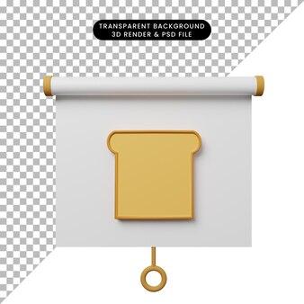 3d illustratie van het eenvoudige vooraanzicht van het objectpresentatiebord met brood
