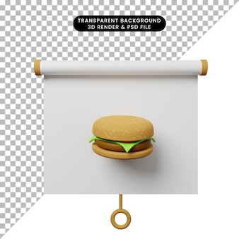 3d illustratie van het eenvoudige vooraanzicht van het objectpresentatiebord met burger