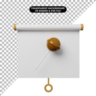 3d illustratie van het eenvoudige vooraanzicht van het objectpresentatiebord met candy chuppa chup