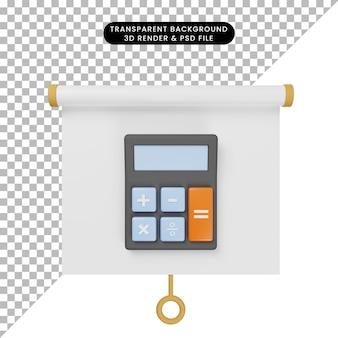 3d illustratie van het eenvoudige vooraanzicht van het objectpresentatiebord met rekenmachine