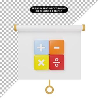3d illustratie van het eenvoudige vooraanzicht van het objectpresentatiebord met rekenmachinepictogram