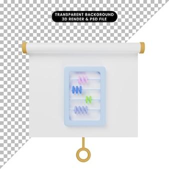 3d illustratie van het eenvoudige vooraanzicht van het objectpresentatiebord met telraam