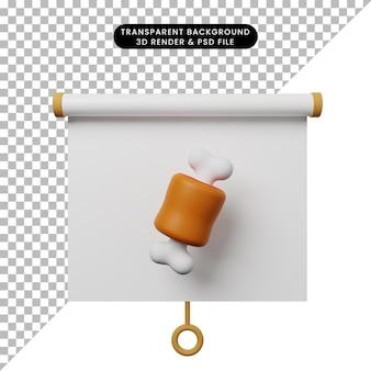 3d illustratie van het eenvoudige vooraanzicht van het objectpresentatiebord met vlees