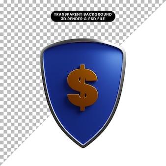 3d illustratie van het schild van het betalingsconcept met dollarpictogram