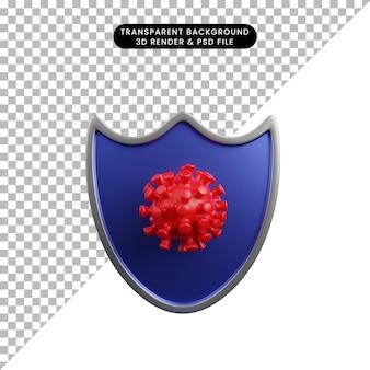 3d illustratie van het schild van het veiligheidsconcept met corona virus