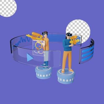 3d illustratie van het spelen van games in virtual reality-headset