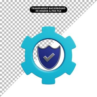 3d illustratie van het toestel van het veiligheidsconcept met schild