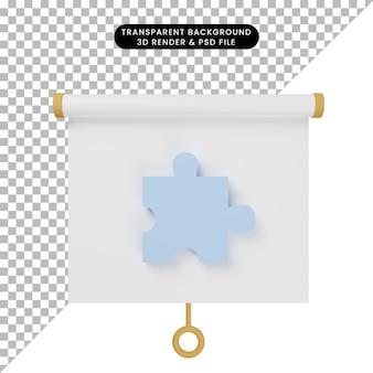 3d illustratie van het vooraanzicht van het eenvoudige objectpresentatiebord met puzzelstukjes