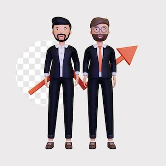 3d illustratie van het zakenpartnerconcept