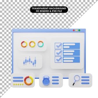 3d illustratie van illustratie van de webgebruikersinterface