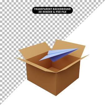 3d illustratie van karton met papieren vliegtuigjes