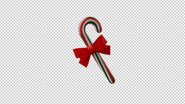 3d illustratie van kerstmissuikergoed met rode boog