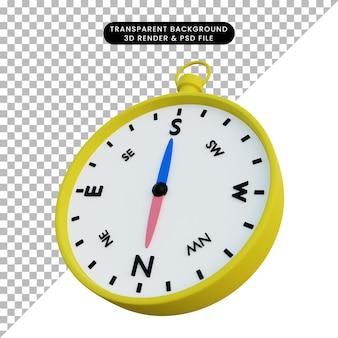 3d illustratie van kompas