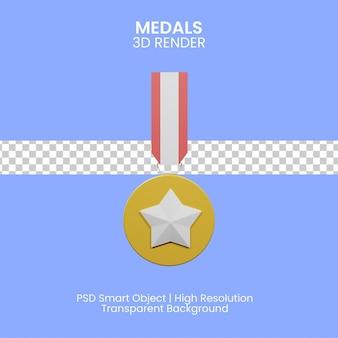 3d illustratie van kwaliteit gegarandeerde medaille met blauwe achtergrond