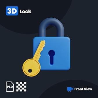 3d illustratie van lock met een vooraanzicht
