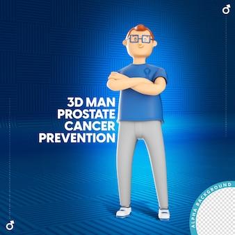 3d illustratie van man met prostaatkanker preventie boog november blauw