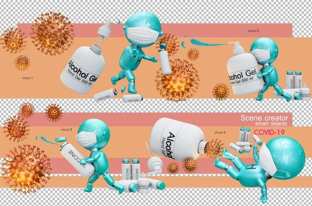 3d illustratie van mensen die het coronavirus bestrijden