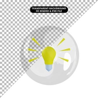 3d illustratie van object gloeilamp in bubbels