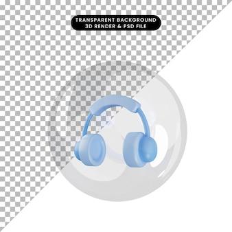 3d illustratie van objecthoofdtelefoon binnen bellen