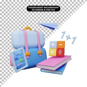 3d illustratie van onderwijs terug naar school