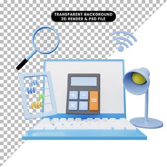 3d illustratie van online onderwijs