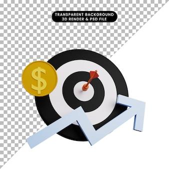 3d illustratie van pijltje op doel met munt en grafiek