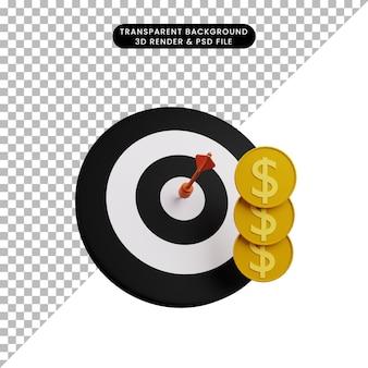 3d illustratie van pijltje op doel met munt