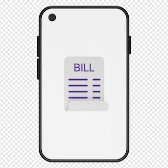 3d illustratie van rekening in smartphonepictogram psd