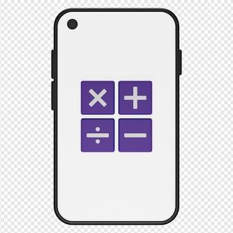 3d illustratie van rekenmachine in smartphonepictogram psd