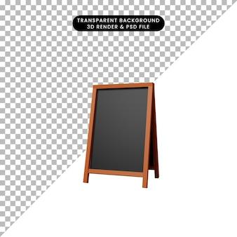 3d illustratie van restaurant met eenvoudig objectteken