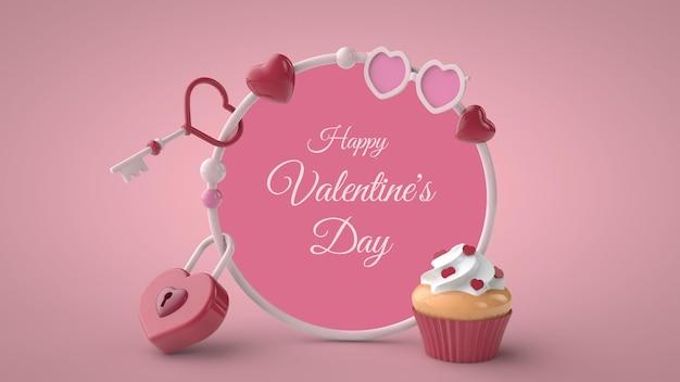 3d illustratie van rond frame voor valentijnsdagmodel